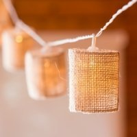 LED String of Lights with Natural Burlap Shades