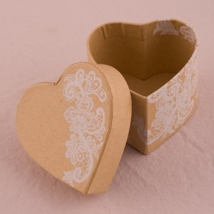 Vintage Lace Heart Kraft Paper Favor Box (Set of 6) image