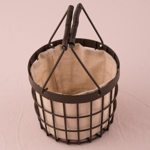 Rustic Wire Flower Basket with Fabric Liner image