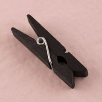 Miniature Black Wooden Clips (Set of 24)