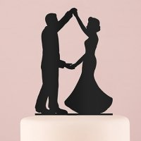 Dancing Silhouette Acrylic Cake Topper - Black or White