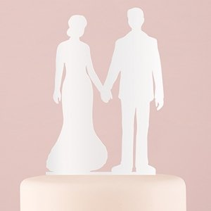 Holding Hands Silhouette Acrylic Cake Topper - White or Blac image