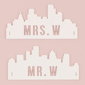 Personalized Cityscape Silhouette Wedding Chair Signs image