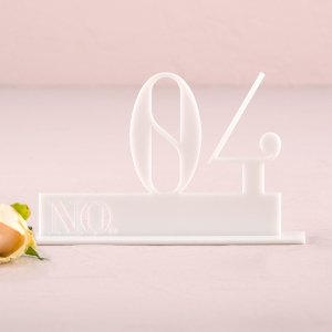 Double Digit Style White Acrylic Table Number image