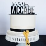 Personalized Mr. and Mrs. Cake Topper - White or Black