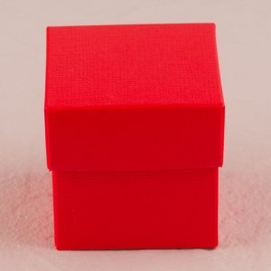 Passion Red Square Favor Box with Lid (Set of 10) image