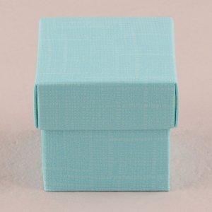 Aqua Blue Square Favor Box with Lid (Set of 10) image