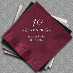 Personalized 40th Wedding Anniversary Napkins (25 Colors) image