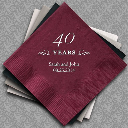 40 Best Images About Color Design: Personalized 40th Wedding Anniversary Napkins (25 Colors