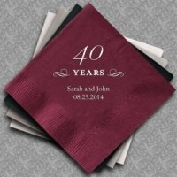 Personalized 40th Wedding Anniversary Napkins (25 Colors)