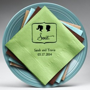Sweet Silhouette - Ponytail Bride Personalized Napkins image