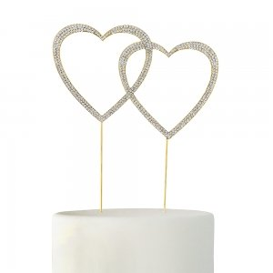 Crystal Rhinestone Double Heart Cake Topper - Gold or Silver image