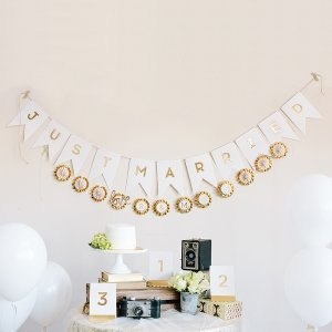 Gold Foil Just Married Pennant Banner image