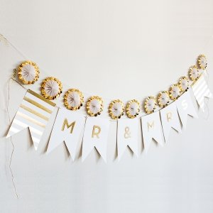 Gold Foil Mr & Mrs Pennant Banner image