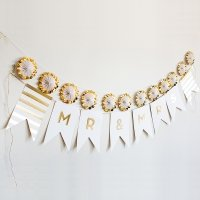 Gold Foil Mr & Mrs Pennant Banner