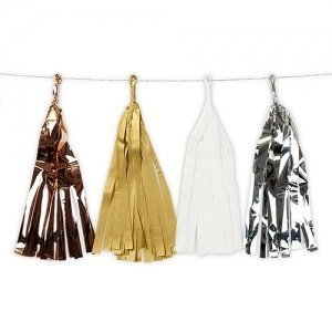 Mixed Metallic Tissue & Foil Tassel Garland image