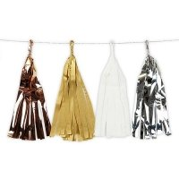 Mixed Metallic Tissue & Foil Tassel Garland
