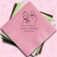 Personalized Bride & Groom Wedding Reception Napkins
