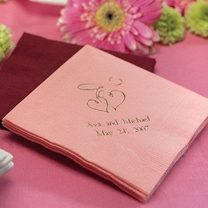 Double Heart Personalized Wedding Napkins Image