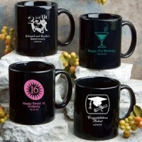 Personalized Black Party Favor Mugs - Sweet Celebrations