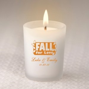 Custom Fall Frosted Glass Candle Holder image