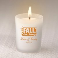 Custom Fall Frosted Glass Candle Holder