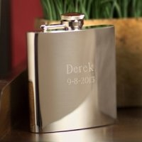 High Polish Engraved Stainless Steel Flask
