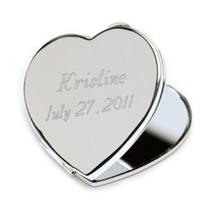 Engravable Heart Compact Mirror image