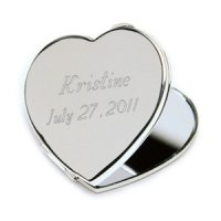 Engravable Heart Compact Mirror
