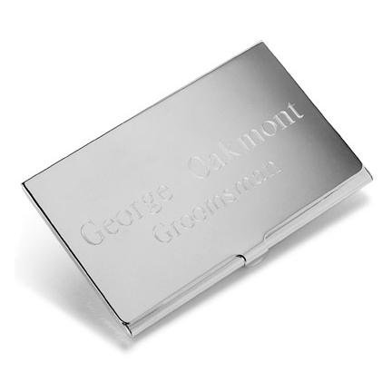 Engraved Silver Plated Business Card Case