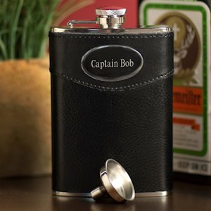 Engraved 8 oz. Black Leather Flask image