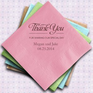 Thank You Printed Wedding Napkins (Set of 100) image