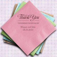 Thank You Printed Wedding Napkins (Set of 100)