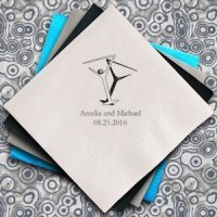 Martini Glasses Personalized Wedding Napkins (Set of 100)