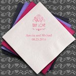 True Love Custom Printed Wedding Napkins (Set of 100)