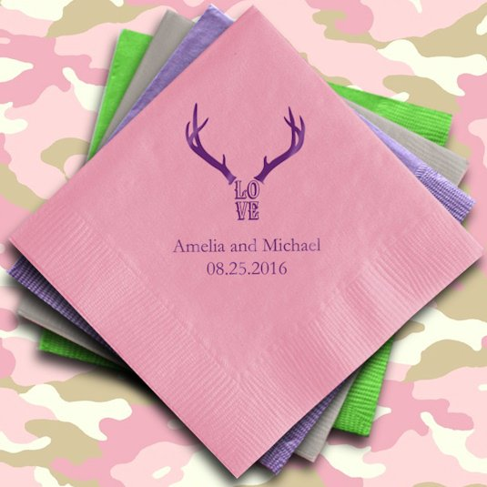 Love antlers personalized wedding napkins set of 100 for Printed wedding napkins