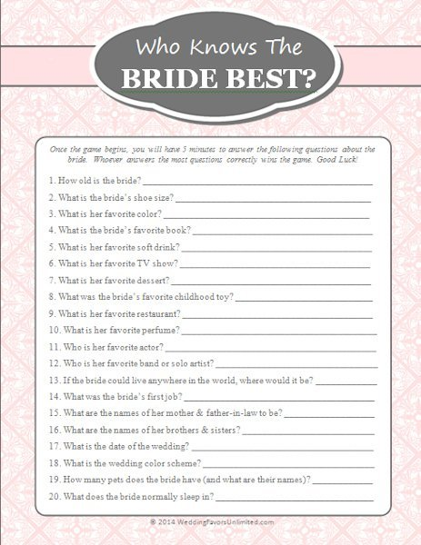 FREE Who Knows The Bride Best Game - Bridal shower game templates